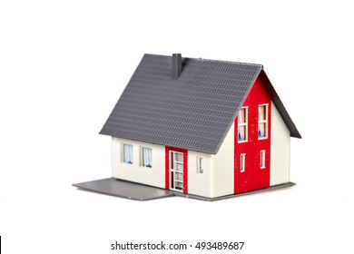 Isolated house symbol  red white grey roof model