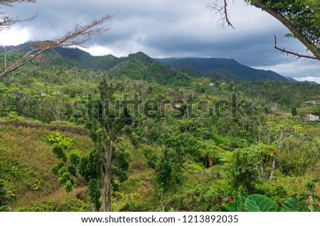 isolated houses in wooded hills and valley surrounded by mountains of jayuya puerto rico