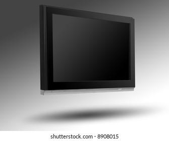 Isolated huge plasma tv with grey background