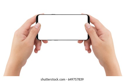 Isolated human two hands holding black mobile white screen smart phone mockup