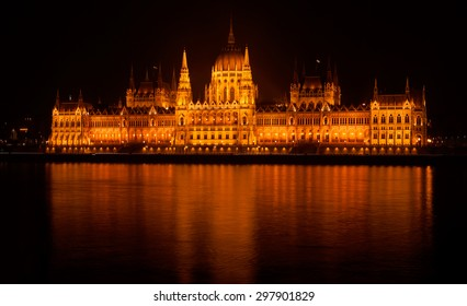 Isolated Hungarian Parliament Building by Night