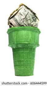 Isolated Ice Cream Sugar Cone With Cash