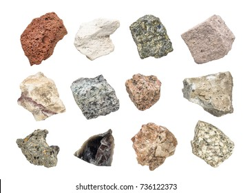 isolated igneous rock geology collection including from top left: scoria, pumice, gabbro, tuff, rhyolite, diorite, granite, andesite, basalt, obsidian,  pegmatite, porphyry