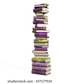 isolated illustration of a book pile