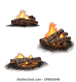 Isolated illustration of campfires