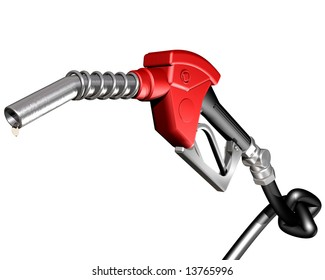 Isolated illustration of a dripping gasoline pump nozzle and hose with a knot tied in it