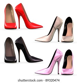 Isolated illustration of high heels