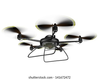 Isolated illustration of a hovering spy drone
