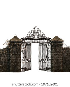 isolated illustration of an old gate