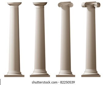 Isolated illustration of Roman Doric and Ionic columns