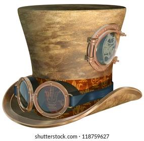 Isolated illustration of a steampunk top hat and brass goggles