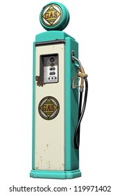 Isolated illustration of a weathered vintage gas pump