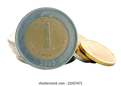 An isolated image of a 1YTL Turkish Lira Coin