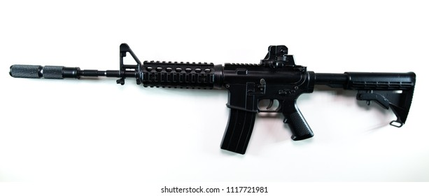 An isolated image of an assault rifle.