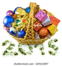 Isolated image of baskets with Christmas decorations