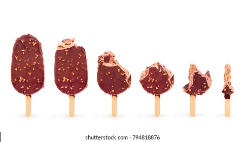 Isolated image of a bitten ice cream on a white background close-up. 6 stages