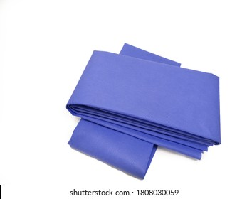 Isolated Image Of Blue Drape Sheet Using For Steam Sterilization And Medical Purpose