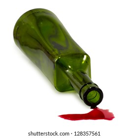 Isolated image of bottle and spilled wine