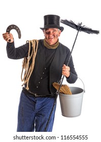 Isolated image of a chimney sweep wishing good fortune with a horseshoe