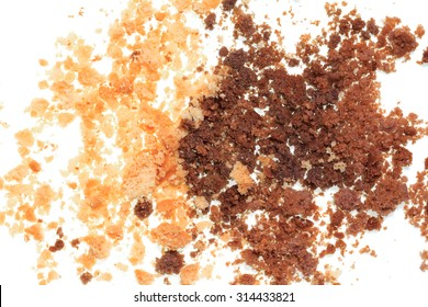 Isolated image of crumbled cookies on a white background