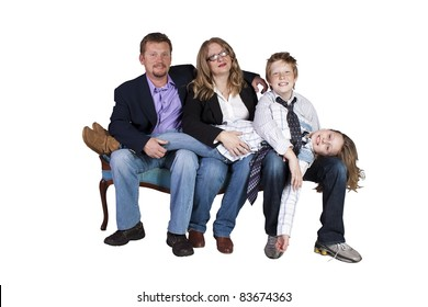 Isolated image of a cute family posing - white background