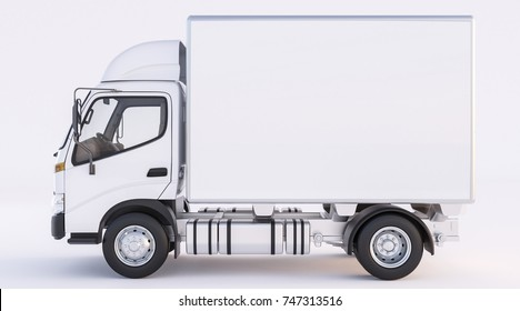Isolated Image of Delivery Truck in White Color 3d rendering