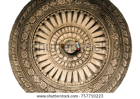 isolated image dhamma wheel sculpture made stock photo edit now