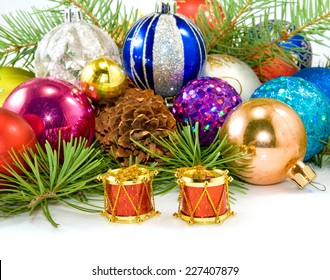 Isolated image of a different Christmas decorations on a white background closeup