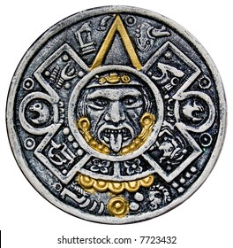 Isolated image of the face of Tonatiuh, from the central disk of an Aztec calendar