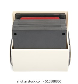 Isolated image of a floppy disk organizer case filled with diskettes