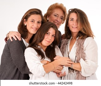 Isolated image of four women of different generations