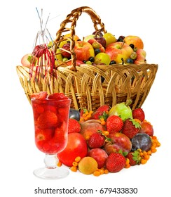 Isolated image of fruit in basket and cocktail close-up