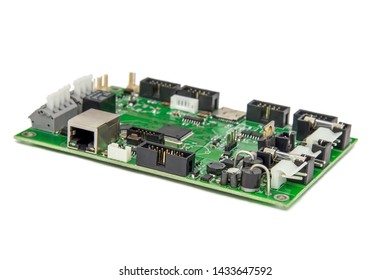 Isolated image of a green printed circuit board assembly. PCB production industry for microelectronics. Selective focus
