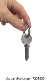 isolated image of hand holding key