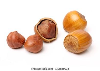 Isolated image of hazelnuts on a white background