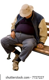 Isolated image of a heavy older gentleman who has fallen asleep on a city bench.