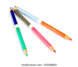 Isolated image of many color pencils on a white background