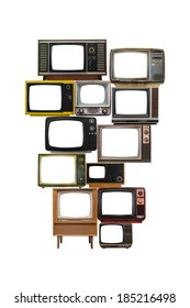isolated image of many old vintage televisions pile up