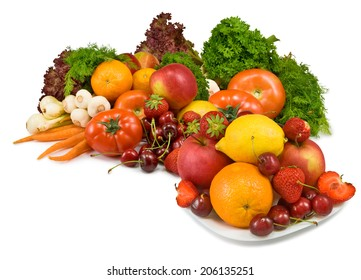 Isolated image many vegetables and fruits on white background