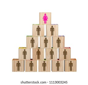 Isolated image of modern female dominated organization chart with women in senior roles made from blocks