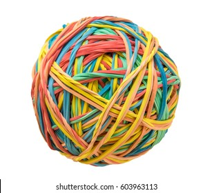 An Isolated Image Of A Multicolored Rubber Band Ball With A White Background