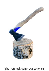 Isolated image of an old ax in a wooden chock