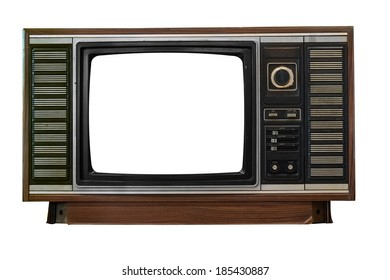 Isolated image of old television on white background