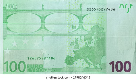 Isolated image of One hundred Euro bill in rear side