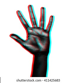 Isolated image of palm with fingers spread painted in shiny black paint on a white background in three-dimensional space
