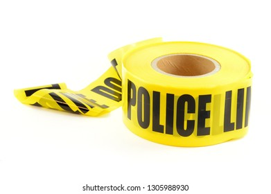 An isolated image of a roll of police line for restricting incident areas for investigations.