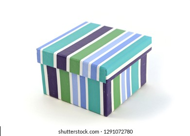 An isolated image of a striped festive gift box.