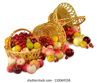 Isolated image of the three baskets of fruit on a white background