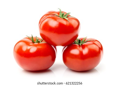 Isolated image of a tomato on a white background close-up