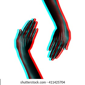 Isolated image of two female hands painted in shiny black paint with a three-dimensional position of the hormone treatment